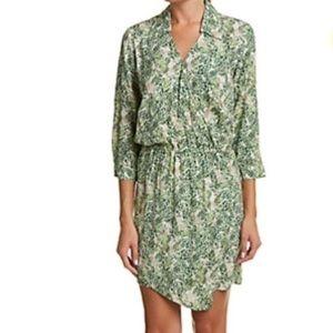 CAbi V-Neck Leaf Print Faux Wrap Shirt Dress Sz M